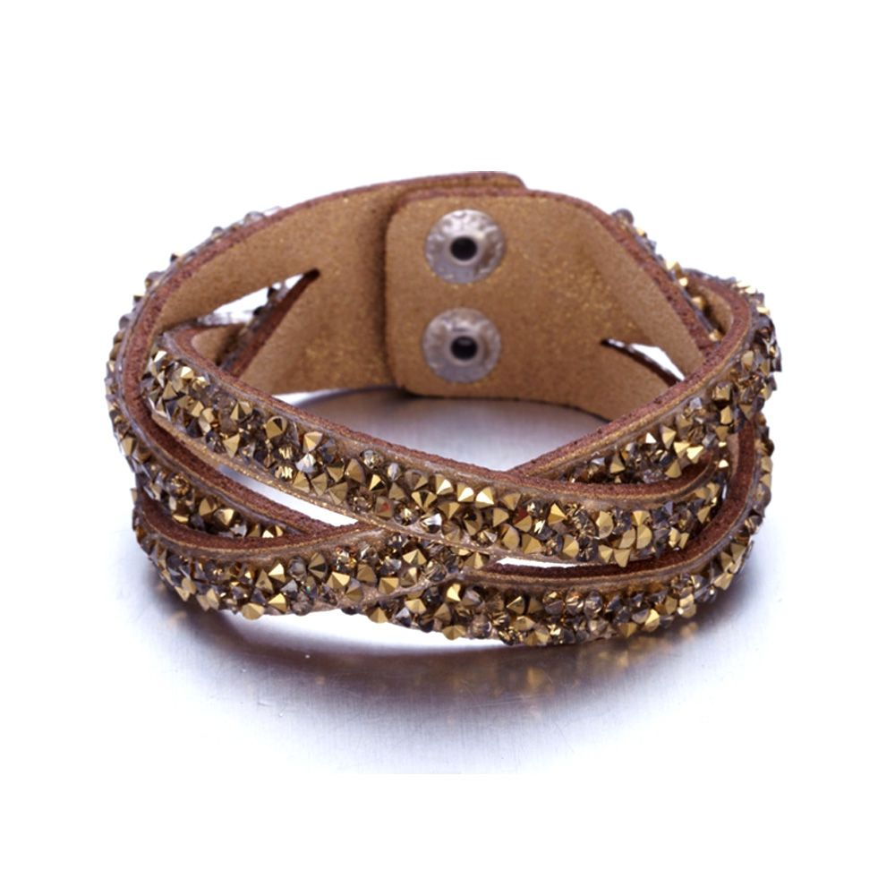 Swarovski - Brown and Golden Swarovski Crystal Elements and glittery Leather Interlaced Bracelet