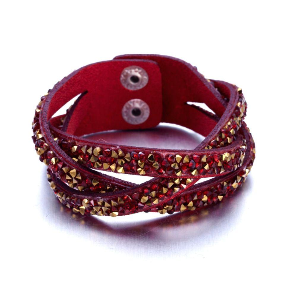Swarovski - Red and Golden Swarovski Crystal Elements and red leather Interlaced Bracelet