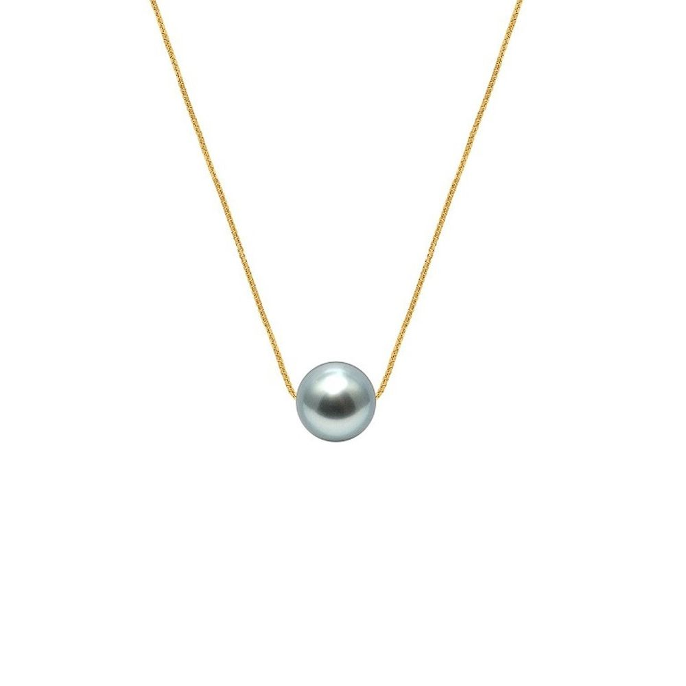 750/1000 Yellow Gold Venitian Chain Woman Necklace and Black Tahitian Pearl