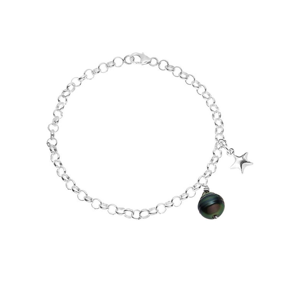 Tahitian Pearl Star Bracelet and 925 Sterling Silver
