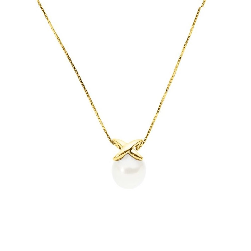 White Freshwater Pearl Choker Necklace and Yellow Gold 375/1000