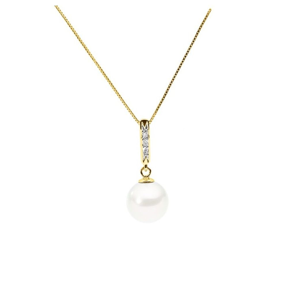 White Freshwater Pearl and Diamonds Pendant and Yellow Gold 375/1000