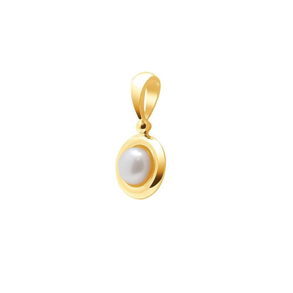 White Freshwater Pearl Pendant and Yellow Gold 750/1000
