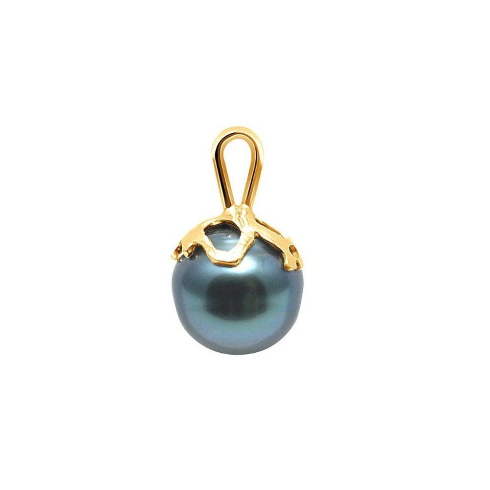 Black Tahitian Circled Pearl Pendant and Yellow Gold 375/1000