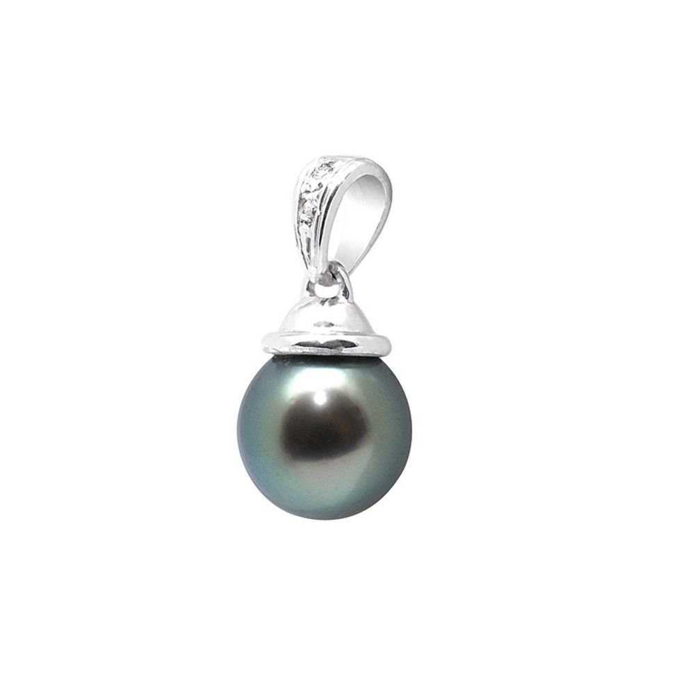 Black Tahitian Pearl, Diamonds Pendant and Sterling Silver 925/1000