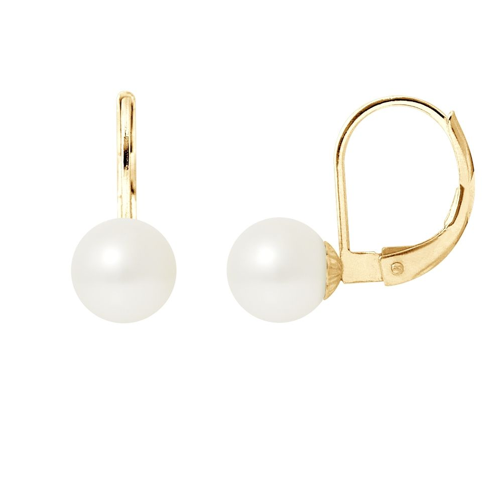 White Freshwater Pearls Earrings and yellow gold 375/1000