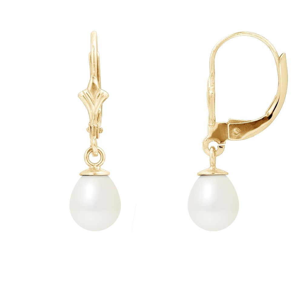 White Freshwater Pearl Earrings and yellow gold 375/1000