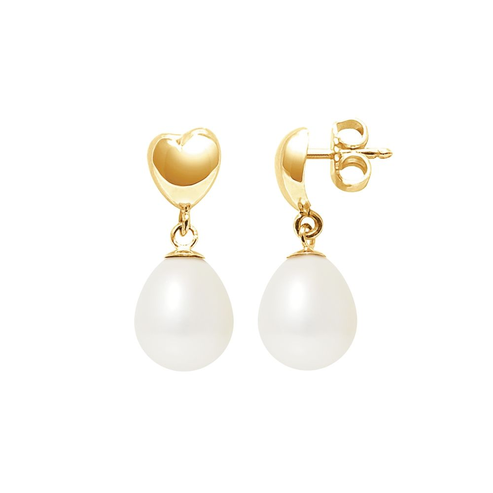 White Freshwater Pearls Hearts Dangling Earrings and yellow gold 375/1000