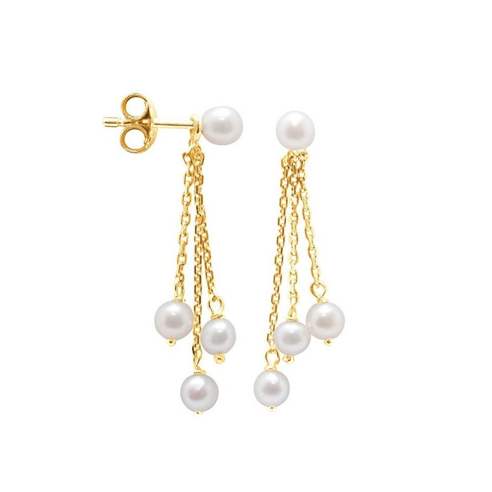 White Freshwater Pearls Dangling Earrings and yellow gold 750/1000