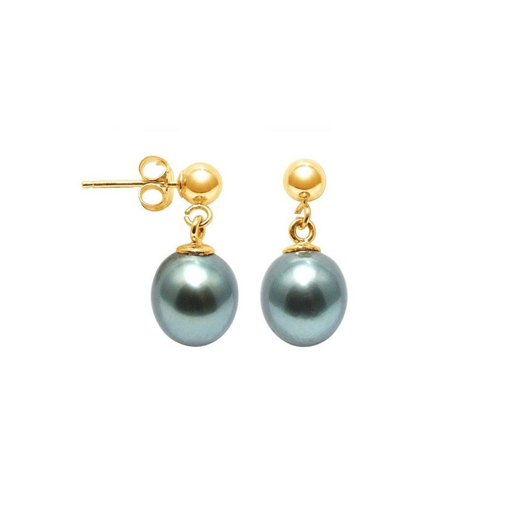 Tahitian Pearl Earrings and yellow gold 750/1000