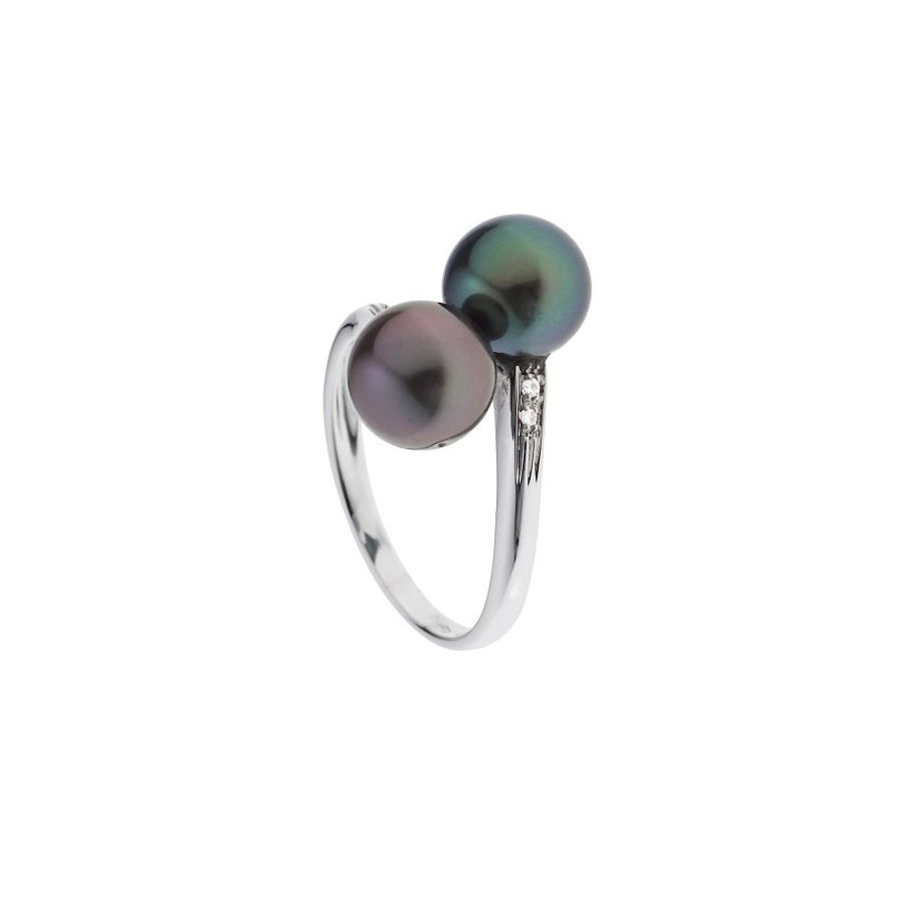 2 Black Tahitian Pearls, Diamonds Ring and White Gold 375/1000