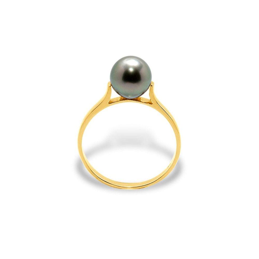 Black Tahitian Pearl Ring and Yellow Gold 375/1000