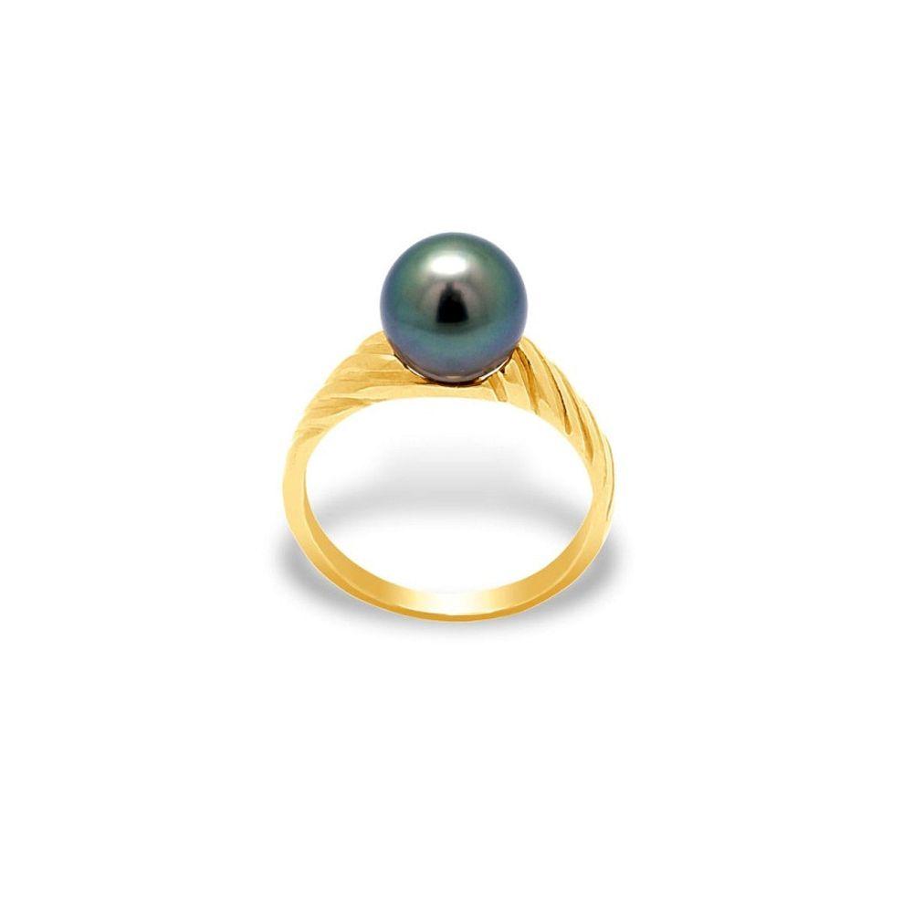 Black Tahitian Pearl bangle Ring and Yellow Gold 375/1000