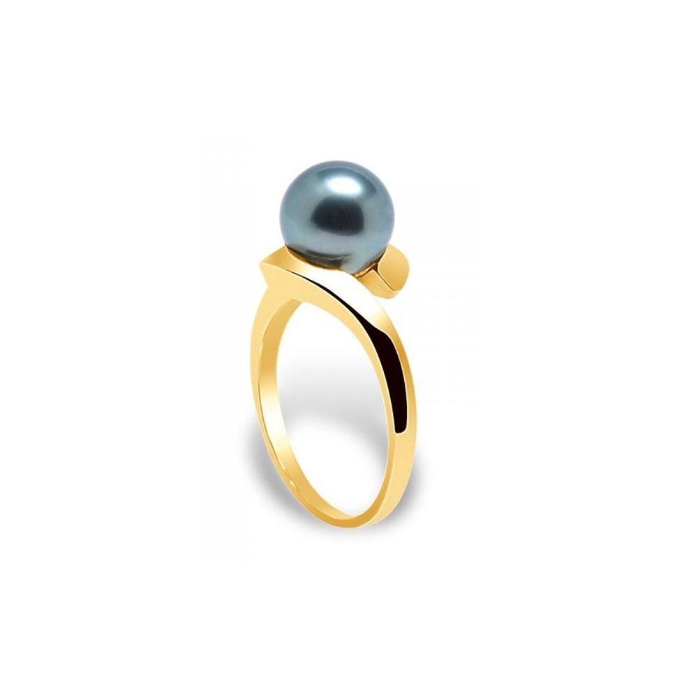 Black Tahitian Pearl bangle Ring and Yellow Gold 375/1000