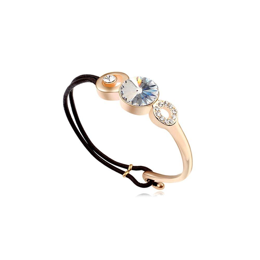 Swarovski - White Swarovski Crystal Elements Bracelet and Black leather