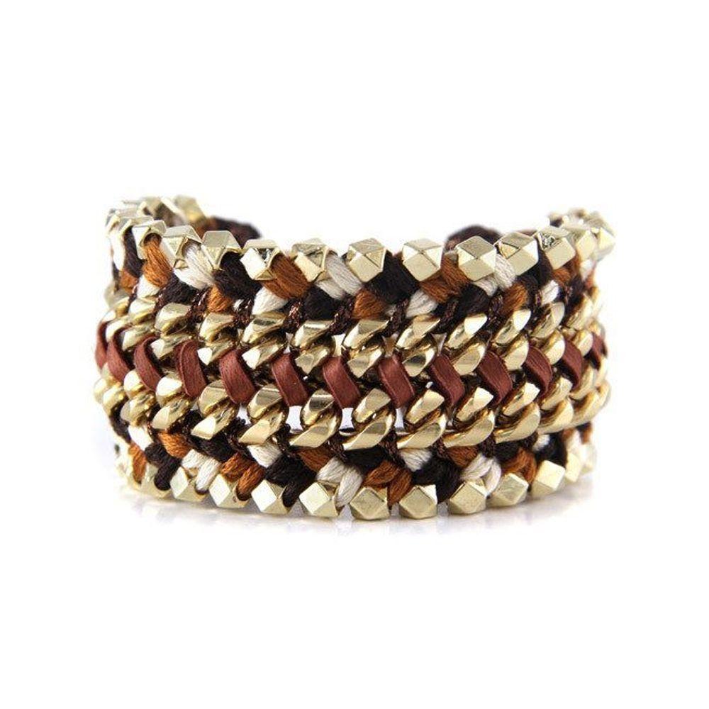 Ettika - Bracelet Yellow Gold Ribbons Leather Braided Black, White and Brown