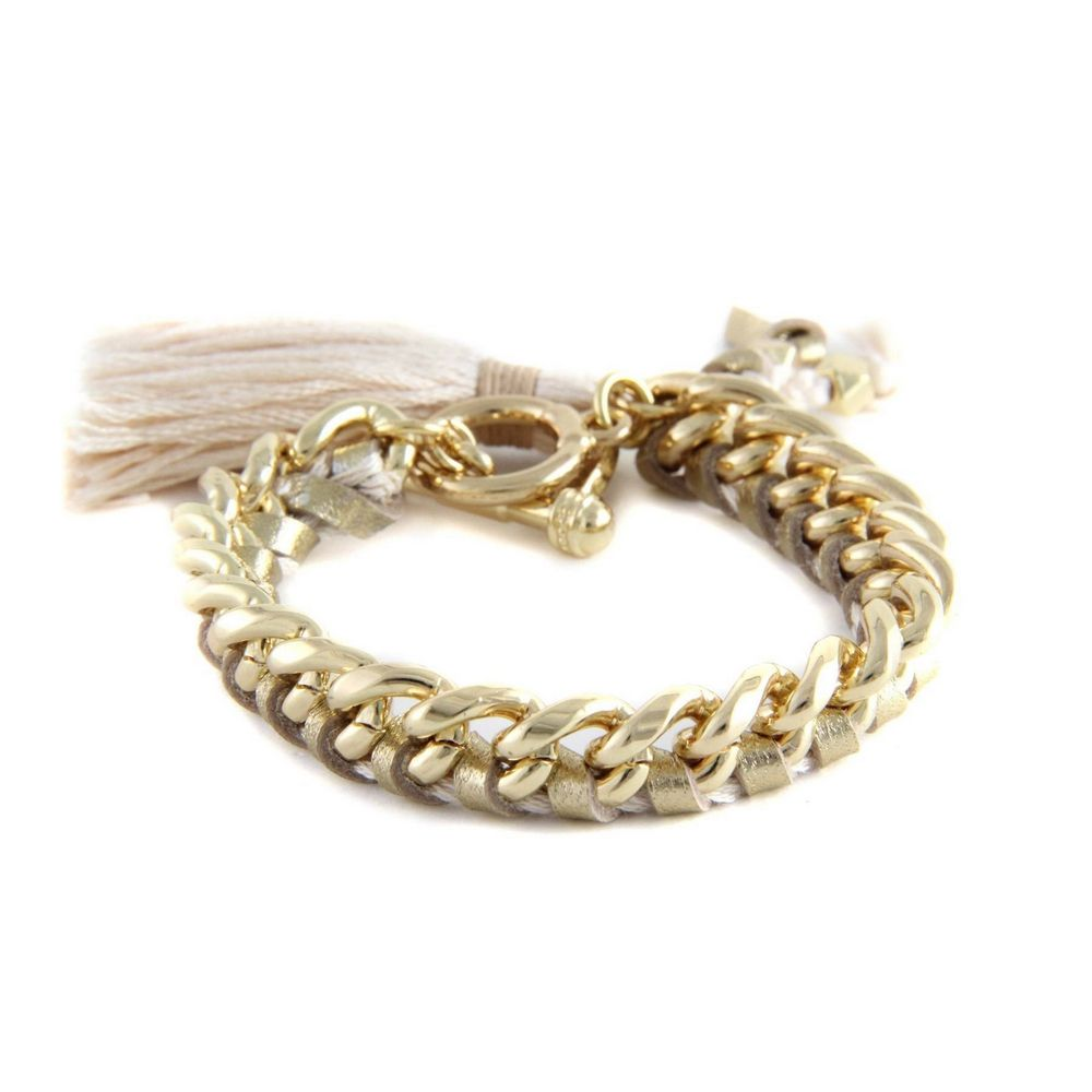 Ettika - Golden Leather Ribbons and Yellow Gold Bracelet