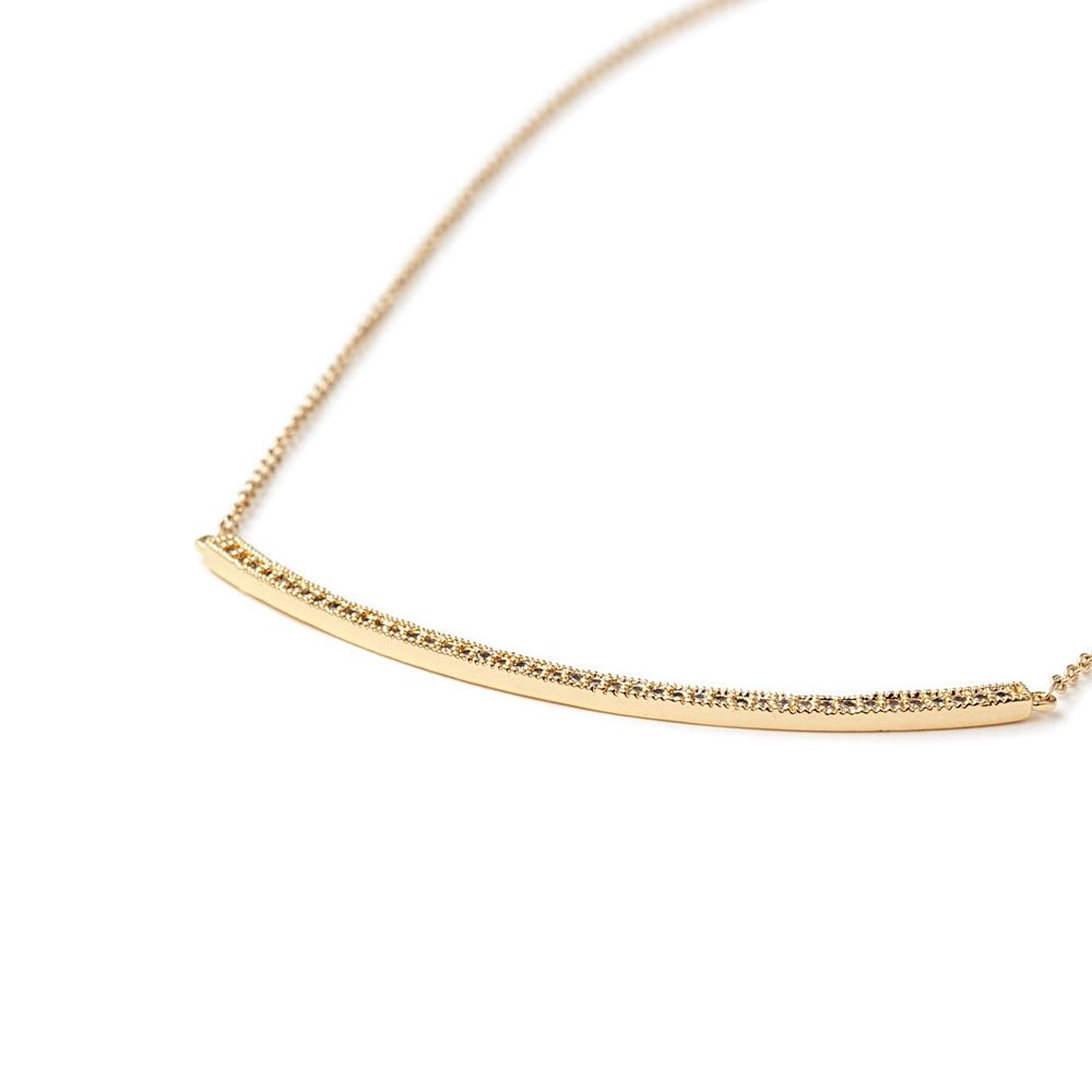 Yellow Gold Plated Necklace and White Cubic Zirconia