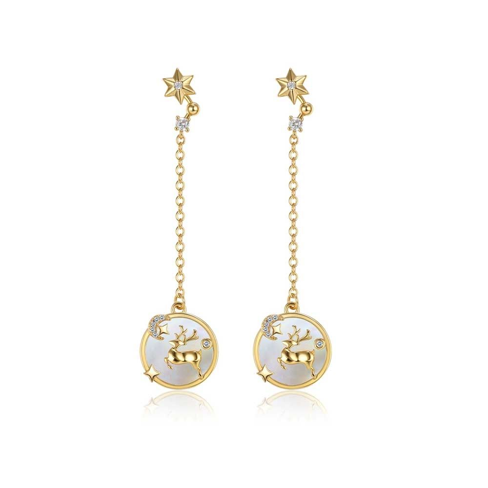 Swarovski - Women's Reindeer Dangling Earrings and White Swarovski Crystal and Yellow Gold Plated
