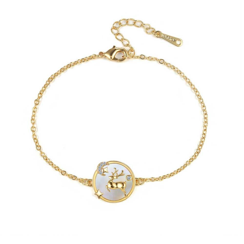Swarovski - Women's Reindeer Bracelet in White Swarovski Crystal and Yellow Gold Plated
