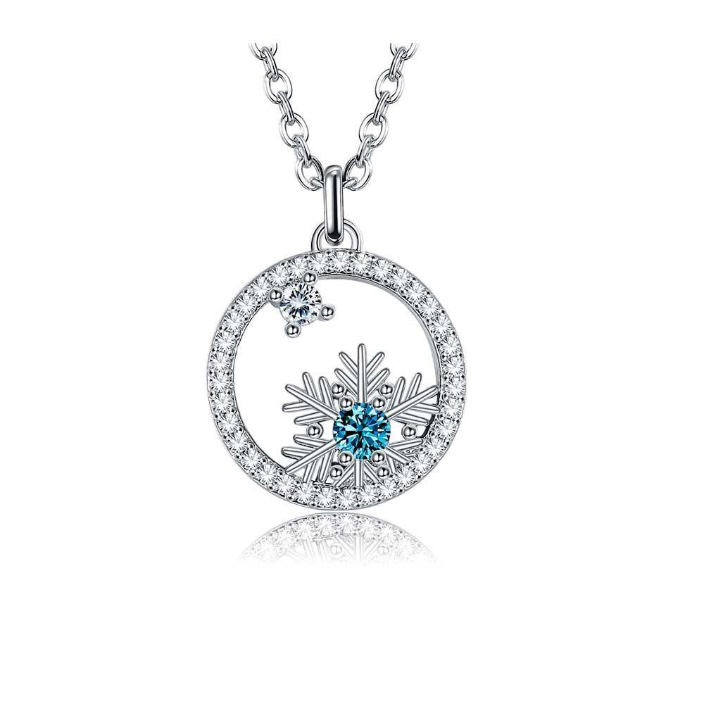 Swarovski Crystal Snowflake Pendant Necklace White and Blue