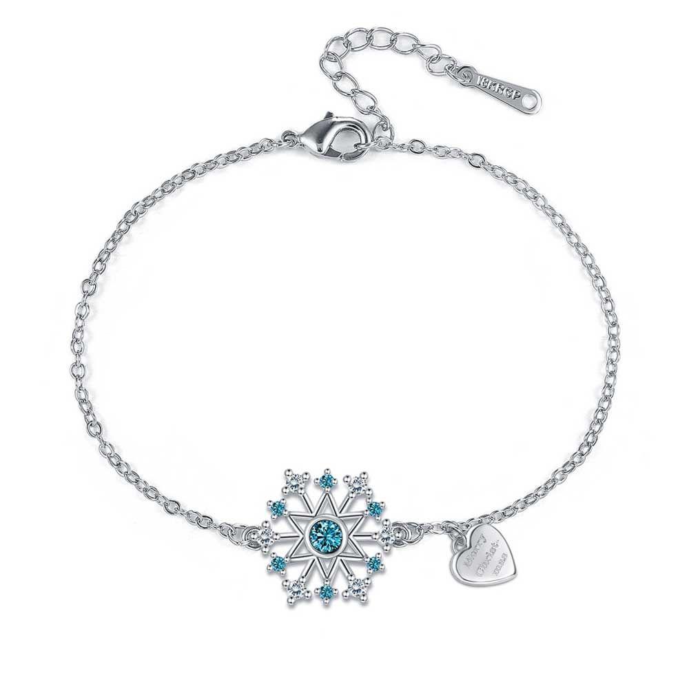 Swarovski - Women's Snowflake Bracelet in White and Blue Swarovski Crystal