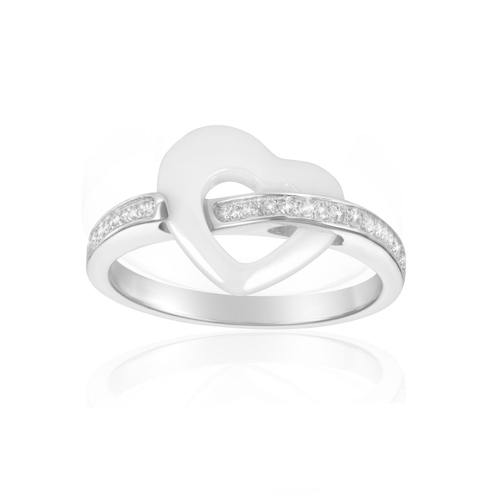 White Cubic Zirconia Crystals Ceramic White Heart Ring and Silver Sterling