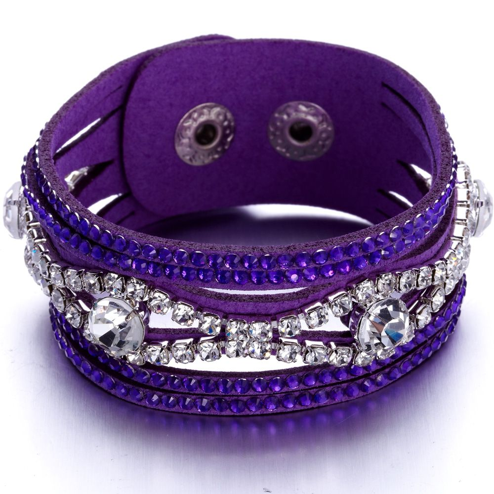 Swarovski - Purple and White Swarovski Crystal Elements and leather Bracelet
