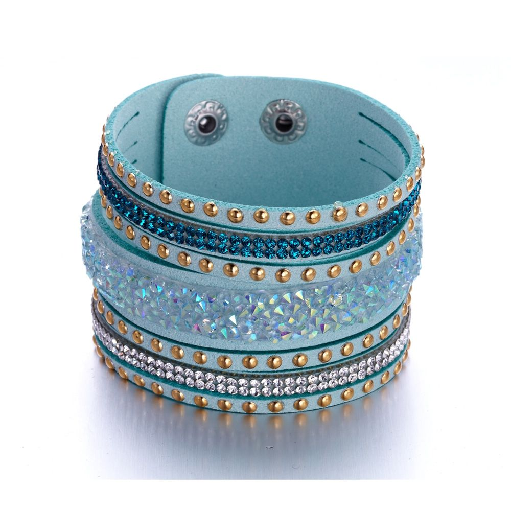 Swarovski - Blue and White Swarovski Crystal Elements and Turquoise leather Bracelet