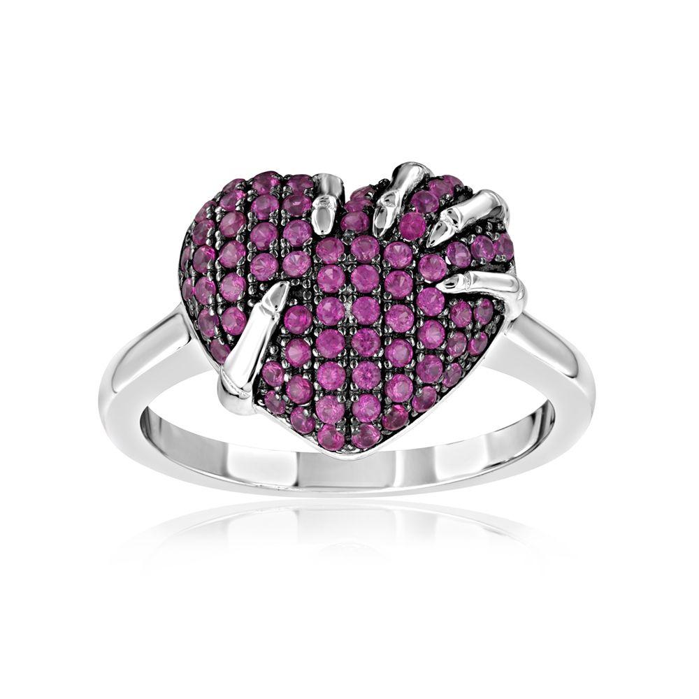 Swarovski - 71 White and Pink Swarovski Crystal Zirconia Heart Ring and 925 Silver