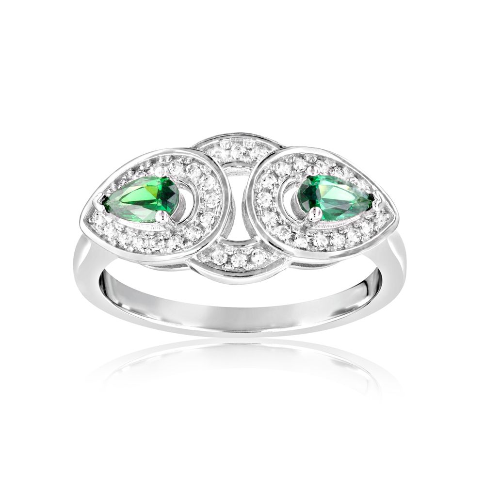 Swarovski - 40 White and Green Swarovski Crystal Zirconia Ring and 925 Silver