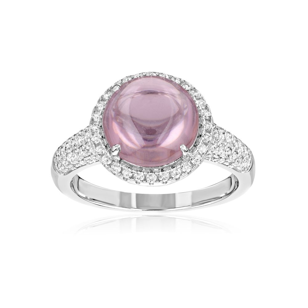 Swarovski - 73 White Swarovski Crystal Zirconia and Pink Natural Stone Ring and 925 Silver
