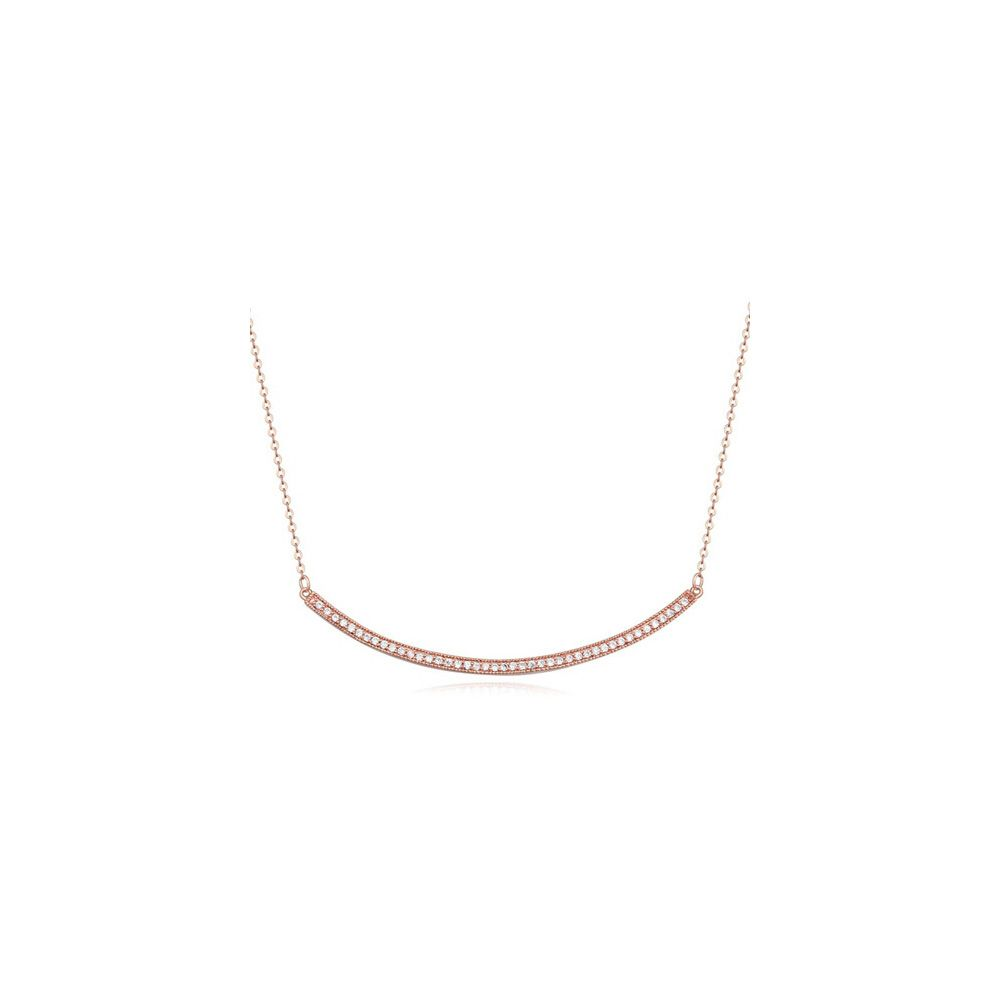 Rose Gold plated Necklace and White Cubic Zirconia