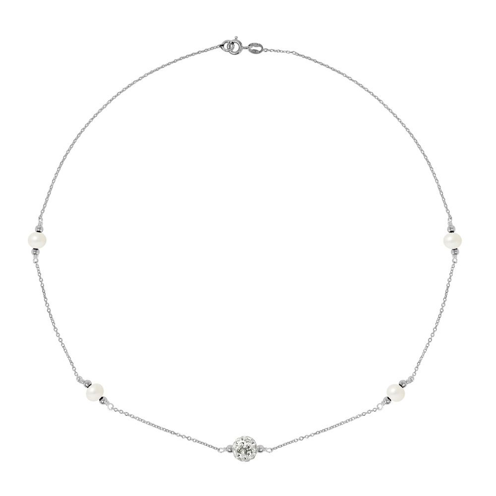 White cultured pearls necklace, crystal and 925 silver
