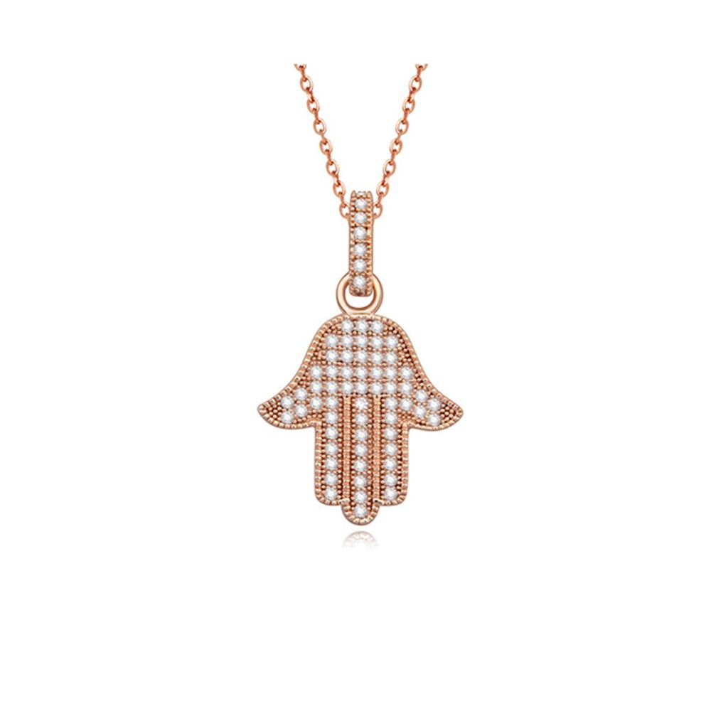 White Cubic Zirconia Crystal Fatma's Hand Pendant and Rose Gold Plated
