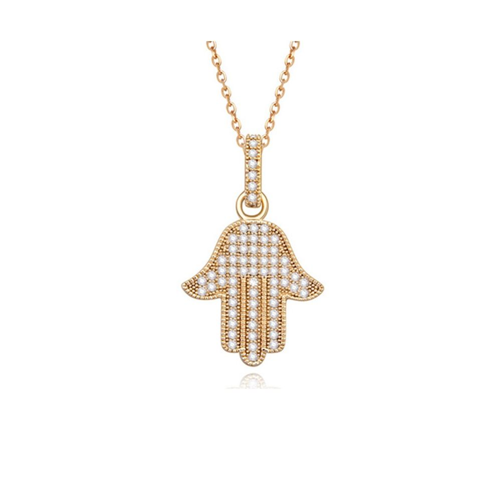 White Cubic Zirconia Crystal Fatma's Hand Pendant and Yellox Gold Plated