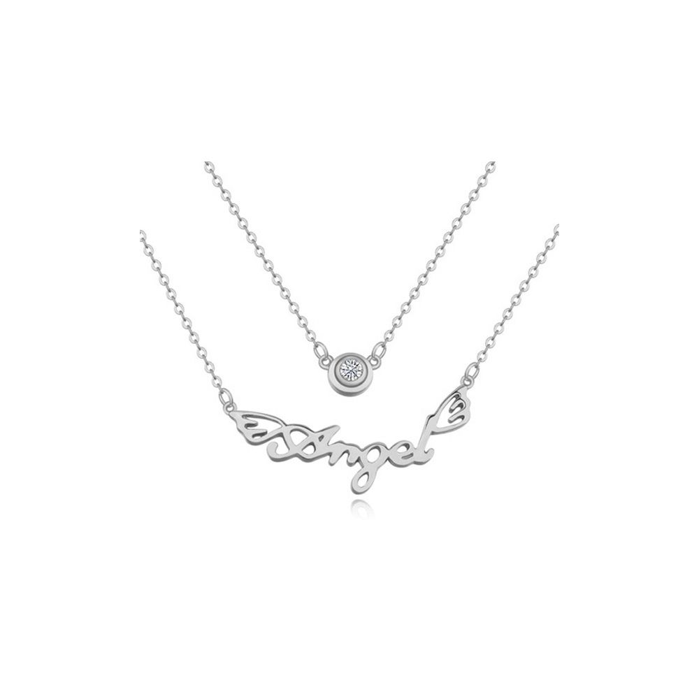 White Cubic Zirconia Crystal Angel Necklace and Rhodium Plated