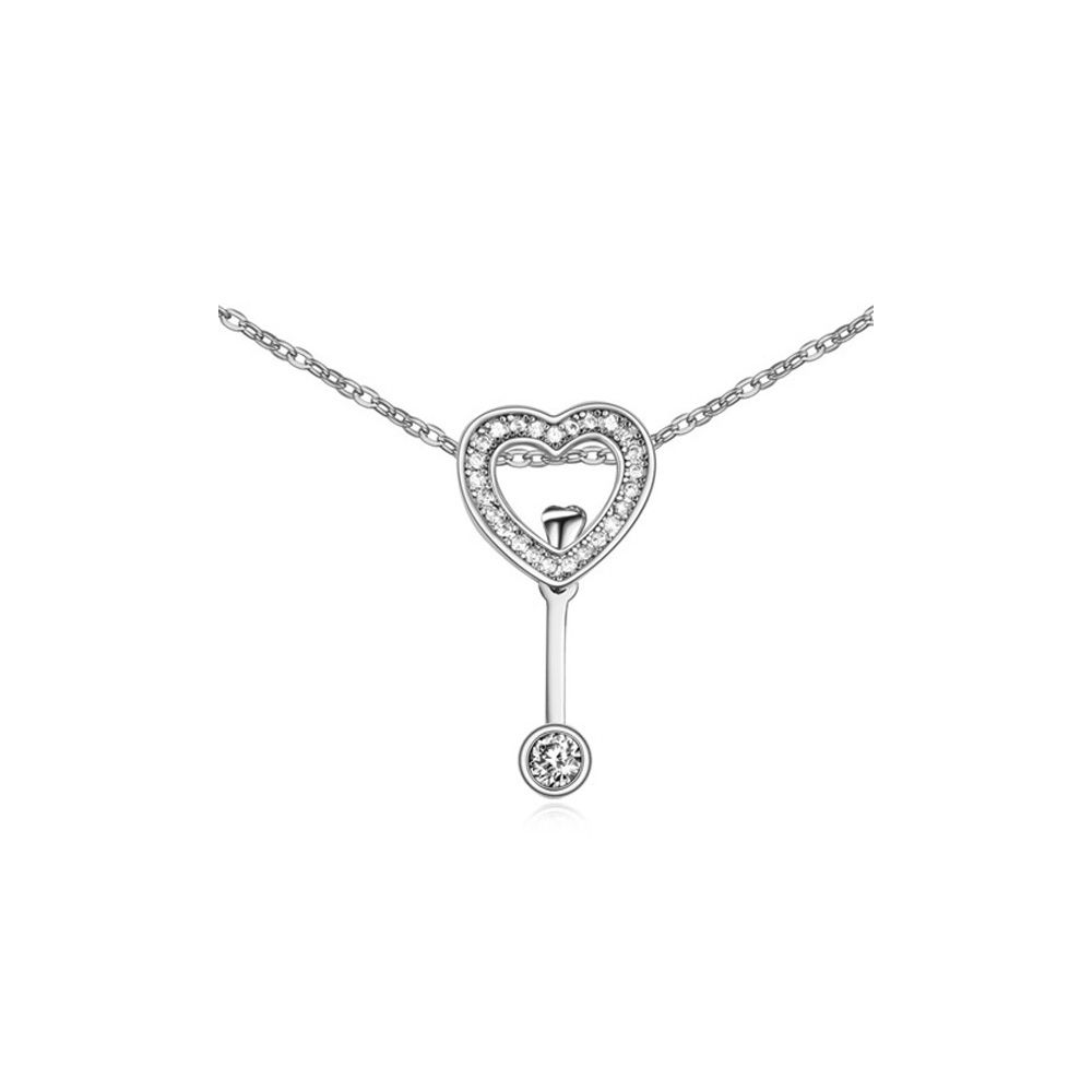 White Crystal Cubic Zirconia Heart Necklace and Rhodium Plated