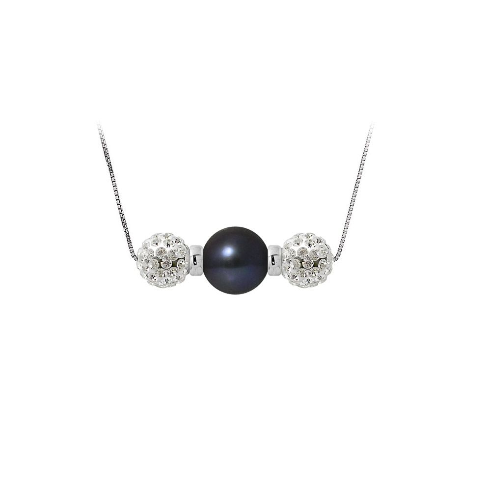Black cultured pearl necklace, crystal and 925 silver