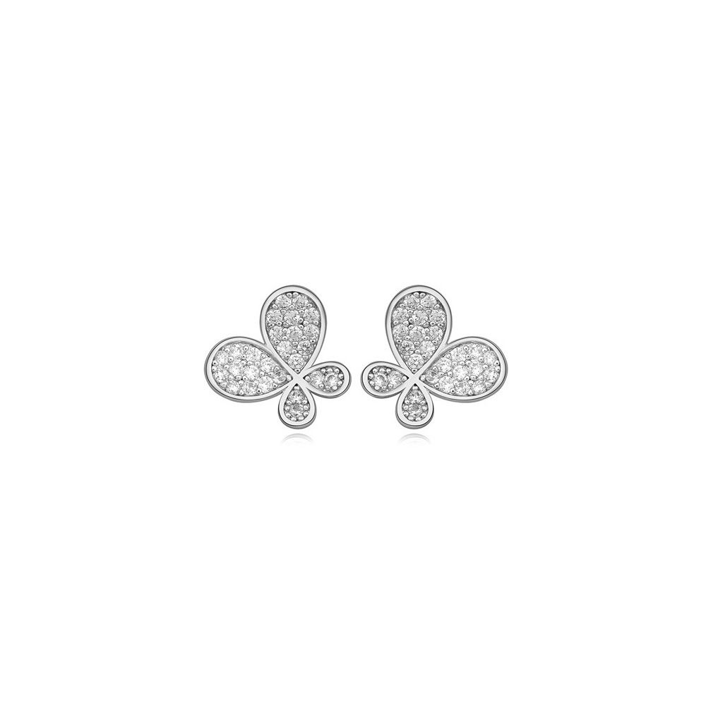 Rhodium Plated Butterfly Earrings and Cubic Zirconia White