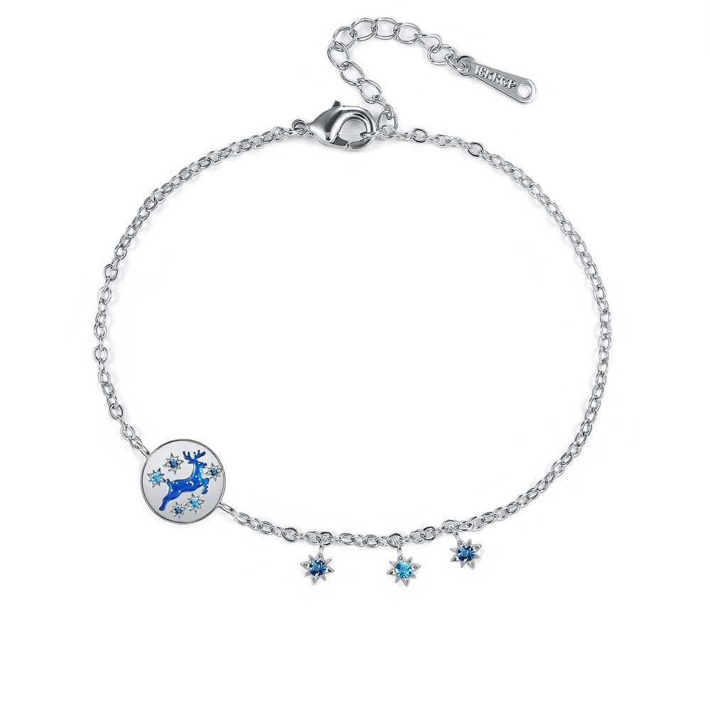 Swarovski - Women's Reindeer Bracelet in Blue Swarovski Crystal