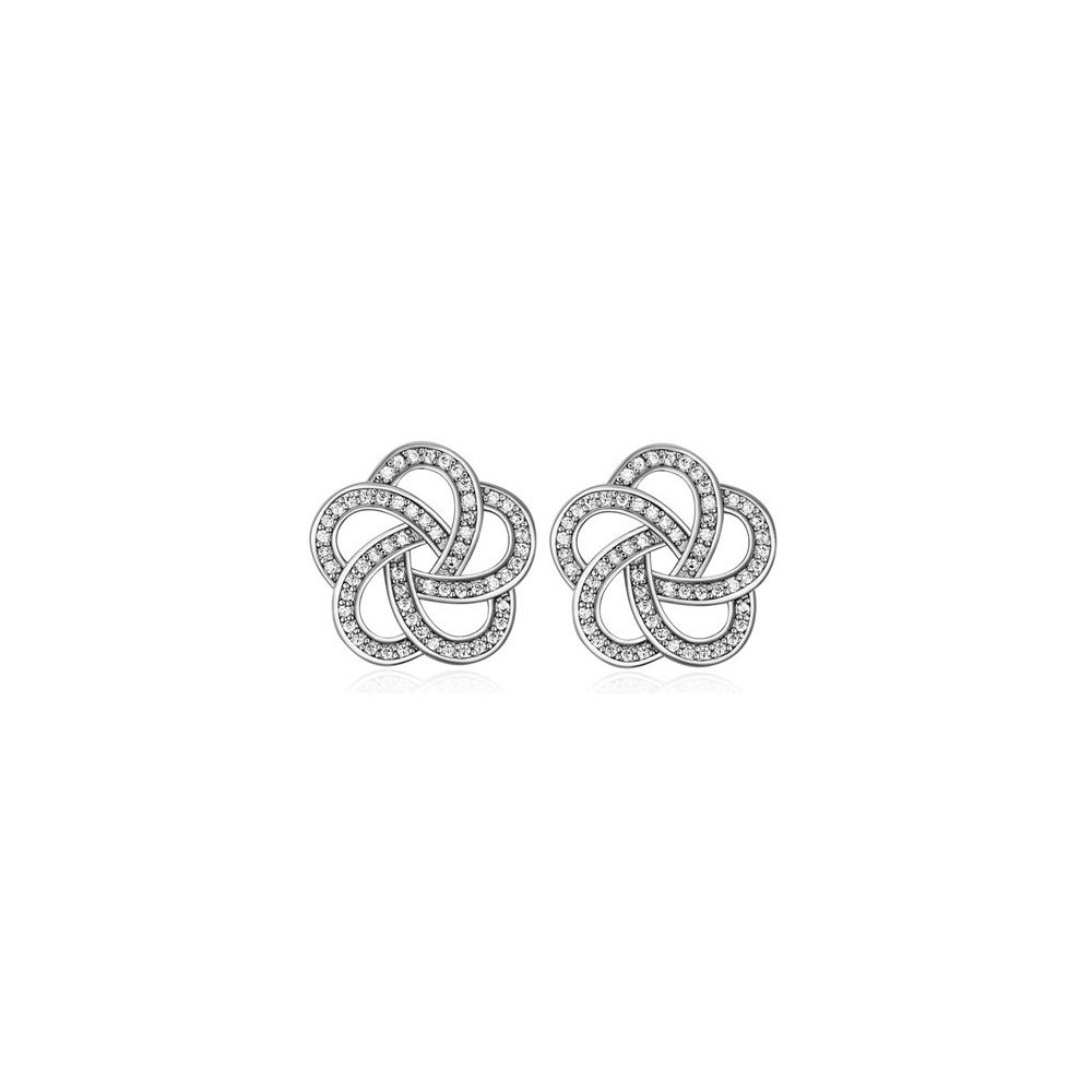 Rhodium Plated Flower Earrings and Cubic Zirconia White