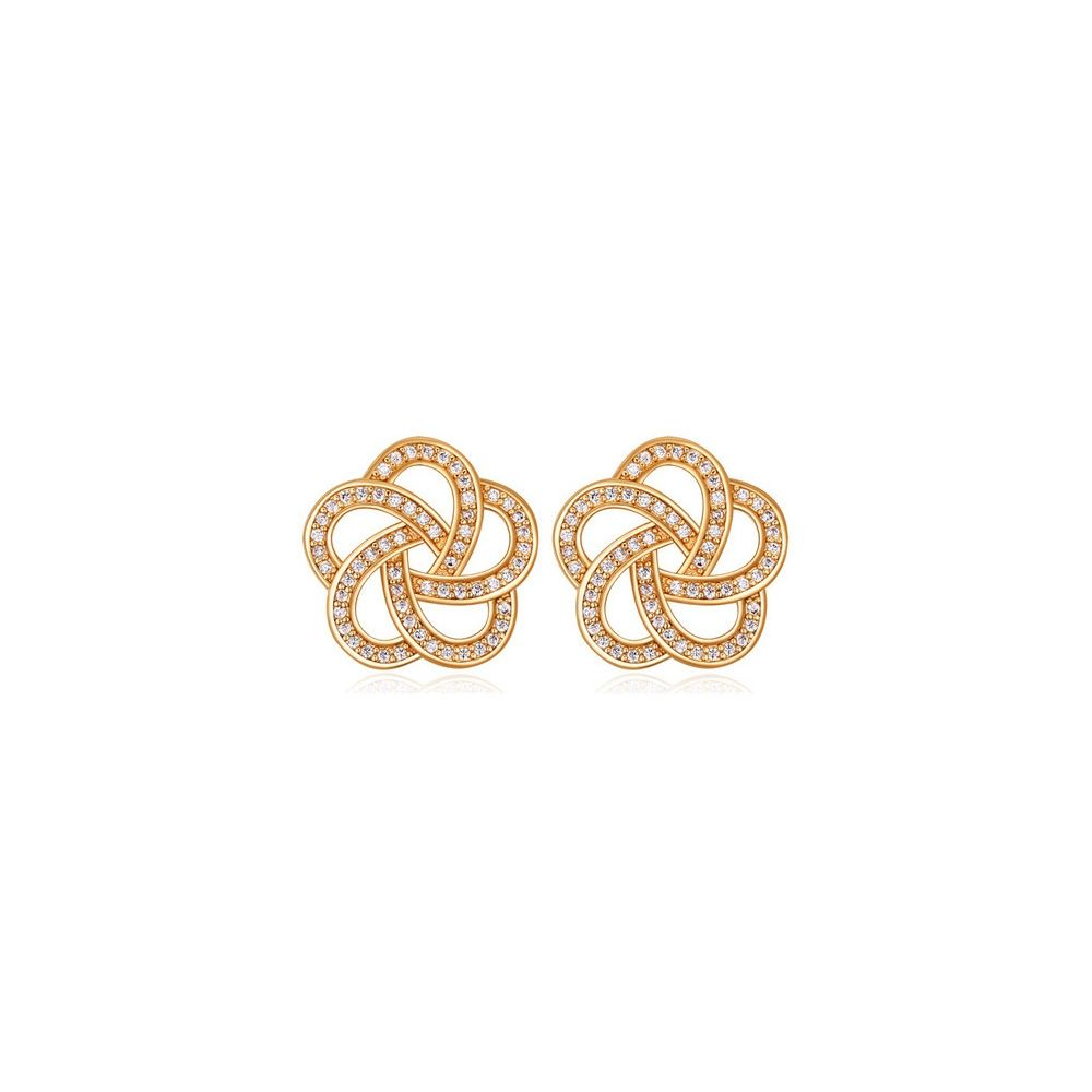 Yellow Gold Plated Flower Earrings and Cubic Zirconia White