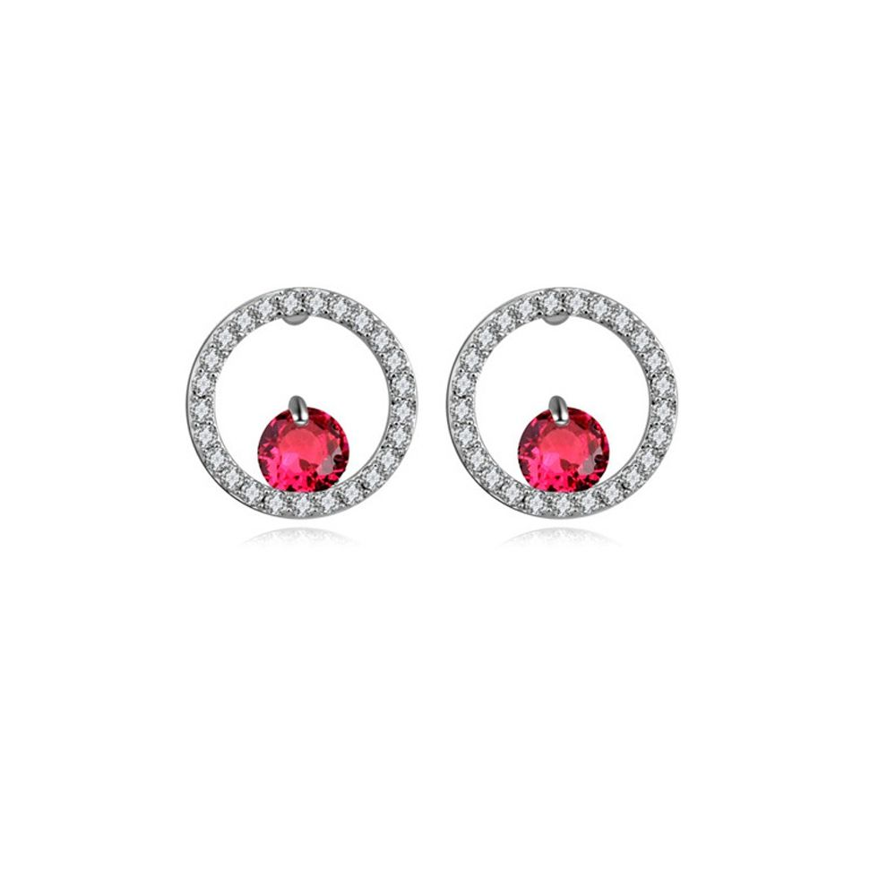 Rhodium Plated Earrings and Red Cubic Zirconia
