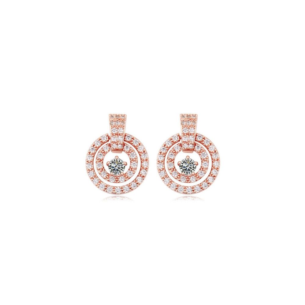 Pink Gold Plated Circle Earrings and Cubic Zirconia White