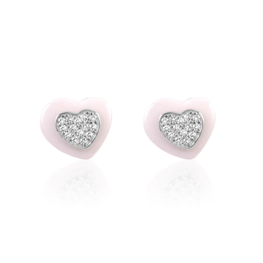 White Cubic Zirconia Crystals White Ceramic Hearts Earrings and Silver Sterling Mounting