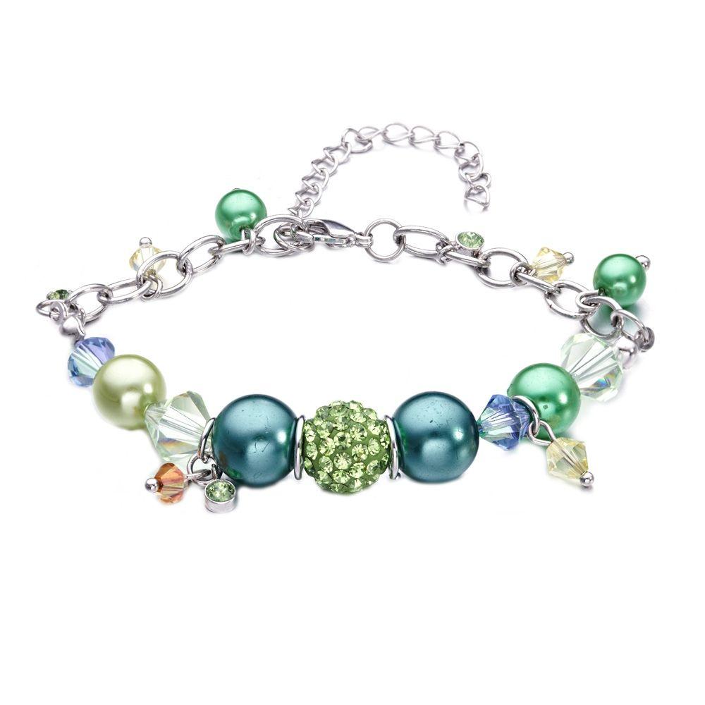 Swarovski - Green Swarovski Crystal Elements, Pearls and Rhodium Charm's Bracelet