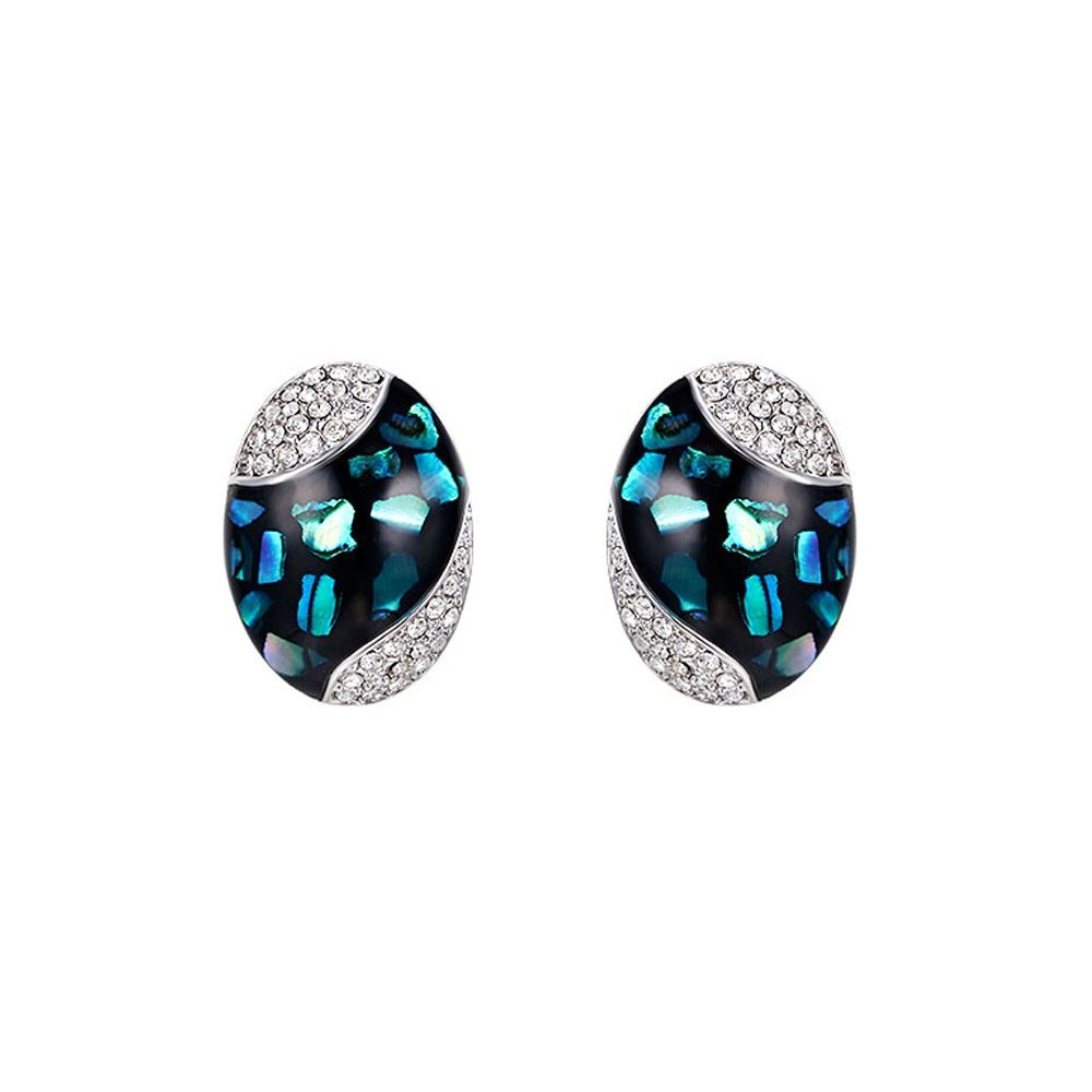 Swarovski - Abalone Earrings and Swarovski Elements Crystal White and Rhodium Plated