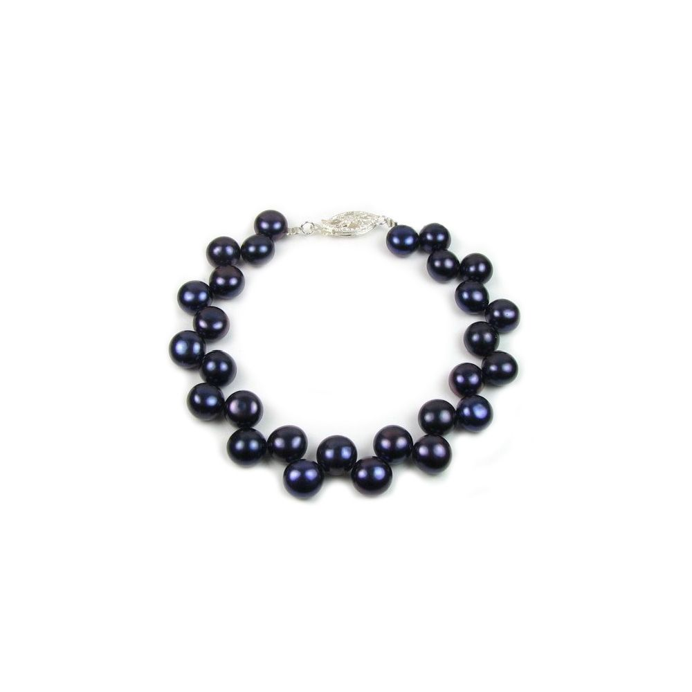 Black Freshwater Pearl Bracelet and 925 Silver