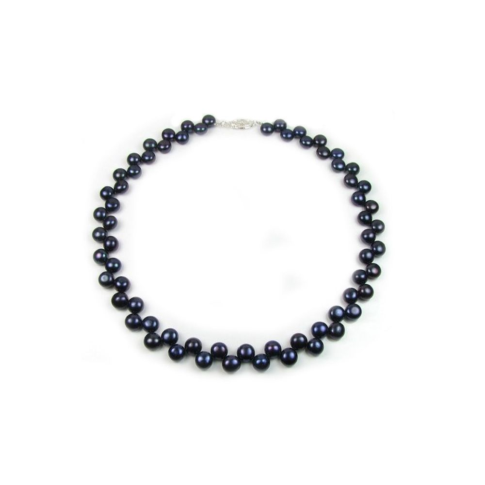 Black Freshwater Pearl Necklace and 925 Silver